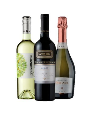 Pack mix 6 vinos Dogma Brut, Veramonte Sauvignon Blanc, Santa Ema Merlot