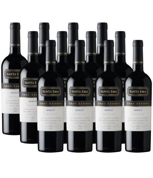 Pack 12 vinos Merlot, Gran Reserva, Viña Santa Ema